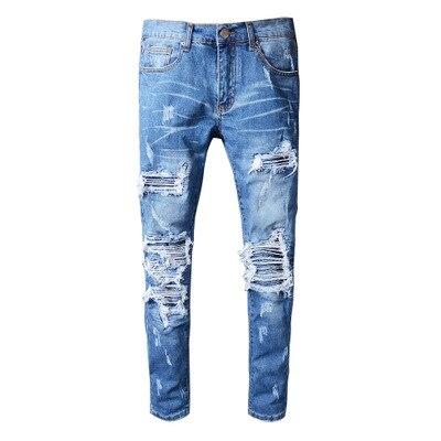 Hommes cassé trou Patch Jeans jeunesse Slim pieds moto pantalon 2019 hommes jeans mode