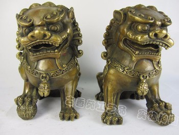 bronze Pure Copper Brass Lotus Chinese style ornaments copper bronze lions do the old door spirits gifts