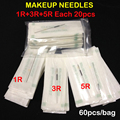 60 pcs R1 R3 R5 Mixed Permanent Makeup Needles Professional Sterilized Permanent Makeup Needles Free Shipping