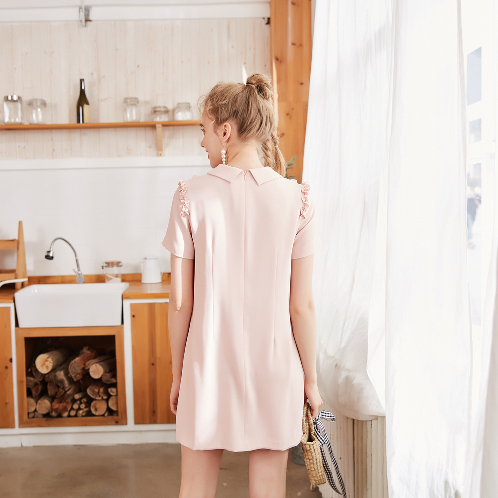 Image 3 - Metersbonwe chiffon dress female spring outfit new style  temperament contracted agaric edge short sleeveDresses