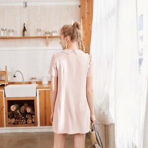 Image 3 - Metersbonwe şifon elbise kadın bahar kıyafet yeni stil mizaç sözleşmeli agaric kenar kısa kollu