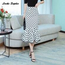 1pcs Hight waist skirts Womens Plus size Fishtail 2019 Autumn cotton blend Dot prints mermaid skirt Ladies Casual