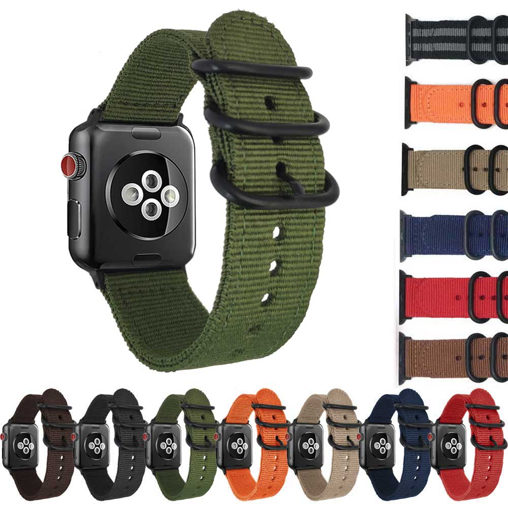 Nylon Watch strap For Apple Watch band 38mm 42mm iWatch 3/2/1 series NATO Strap watch with Zulu Rings Buckle Adapters Watchband 42mm 38mm for apple watch s3 series 3