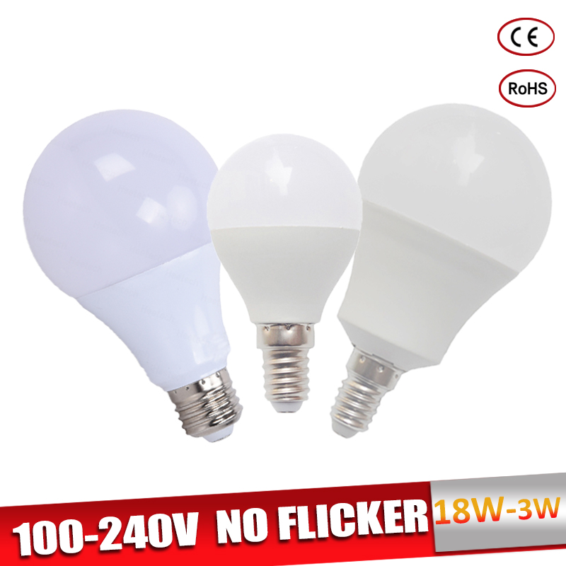 Lampadas Led E27 LED Bulb E14 Bombillas 110V 220V 18W 15W 12W 9W 7W 5W 3W Led Light Bulb Real Power Warm/Cold White For Home