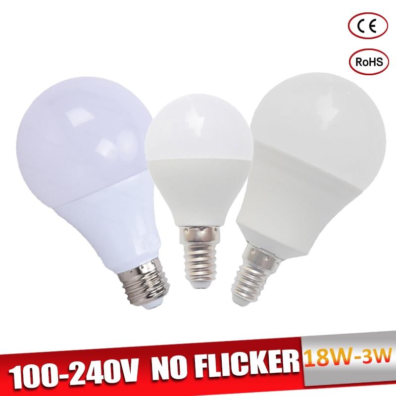 Lampadas Led E27 LED Bulb E14 Bombillas 110V 220V 18W 15W 12W 9W 7W 5W 3W Led Light Bulb Real Power Warm/Cold White For Home