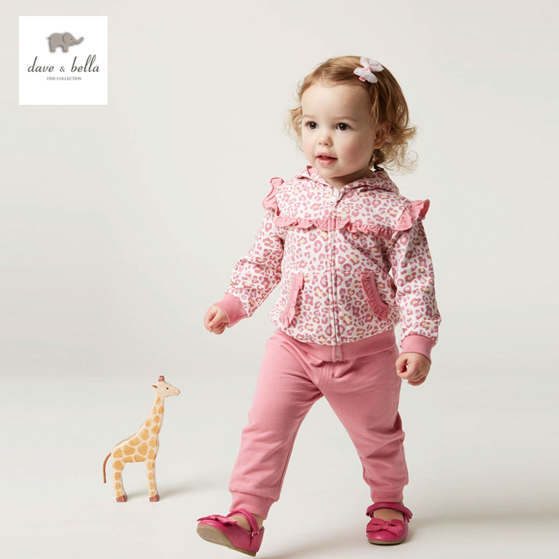 DB4775 dave bella spring fall baby girls pink leopard clothing set sports set boutique clothes