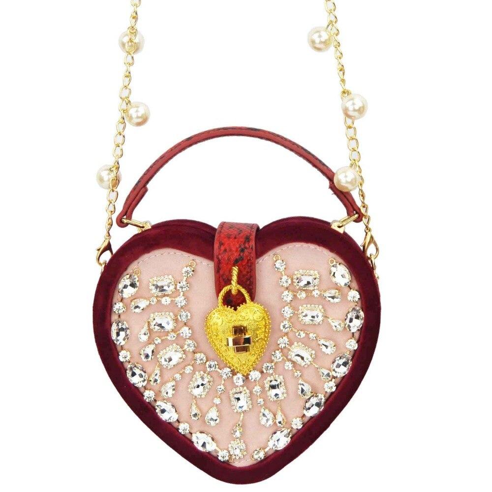 Brand Designer Heart Shape Velvet Shouder Bag Chain With Pearl Messenger Bag Lovely Red Black Women