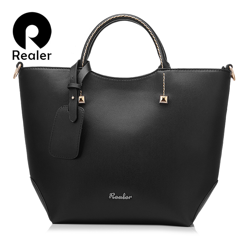 896909239510 Detail Feedback Questions about REALER brand handbag women large bucket shoulder  bag female high quality artificial leather tote bag fashion top handle bag  ...