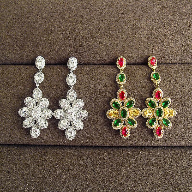 Fashion AAA cubic zirconia petal combined polychromatic long Earrings ,womens accessaries,EC028