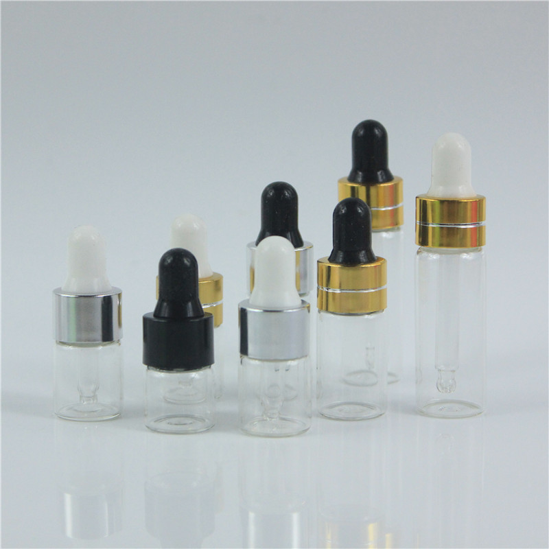 50cs x 3ml/cc Empty Clearly Glass Bottles With Dropper For Travel Protable Test  Essential Oil Glass Container In Refillable
