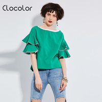 Clocolor Women Blouse Round Neck Ruffle Short Sleeve Loose Pullover Patchwork Top 2017 Fashion Autumn Winter