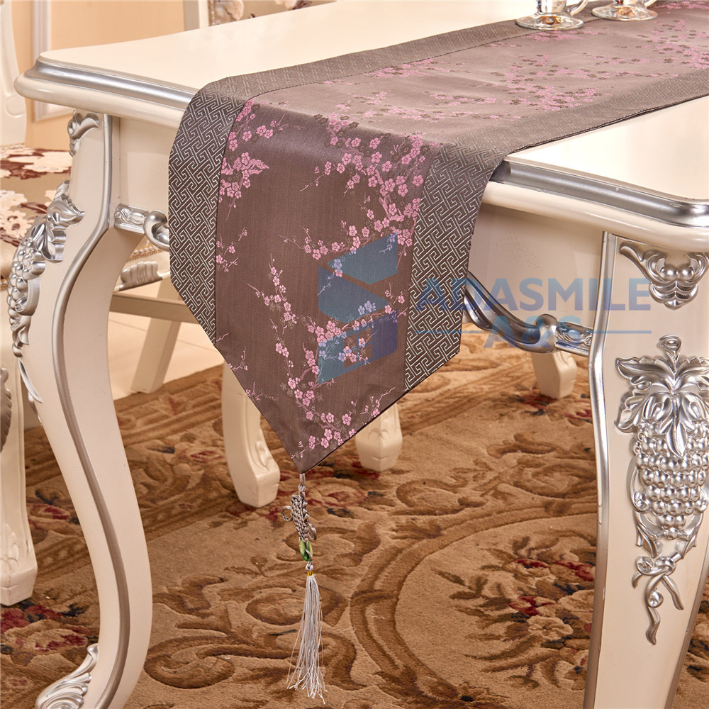 Adasmile Luxury Chinese Plum Style Design Wedding Decoration Table Runner  Dinning Table Flag Embroidered Party Table Cloth