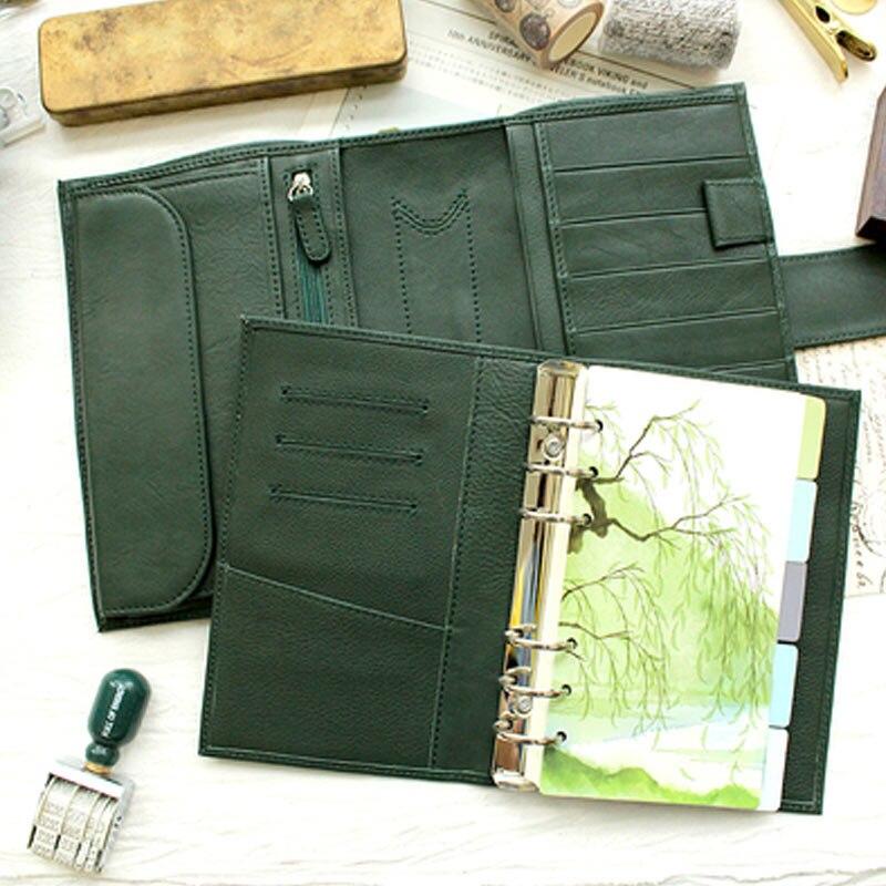 Presell Yiwi anneaux en cuir véritable cahier A7 A6 taille classeur Mini Agenda organisateur en cuir de vachette Journal planificateur grande poche
