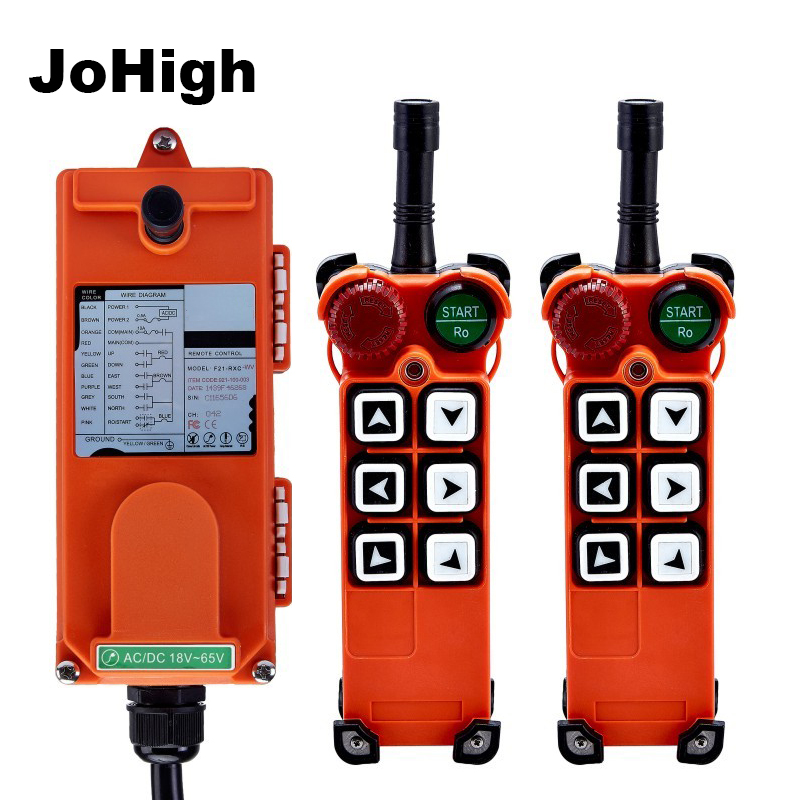 JoHigh 6 Buttons Switch 315Mhz 868Mhz Wireless Remote control for Hoist Crane 2 transmitters 1receiver