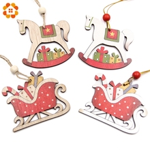 5pcs/Lot Creative Christmas Wooden Pendants Ornaments DIY Craft Kids Gift Xmas Tree Ornament