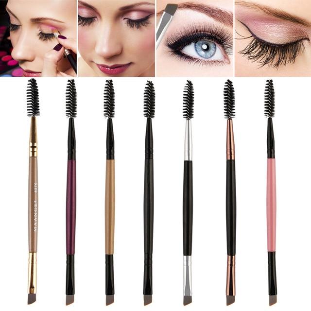 1 Pcs Eyelash Eyebrow Brush Double Head Brush Eyelash Eyebrow Cosmetics Beauty Tools Professional Beveled Spiral Brush 5