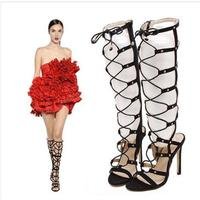 Valentine 2016 Summer Women Boots Cool Hollow Cross Straps Suede High Heeled Boots Cool Fashion Stiletto