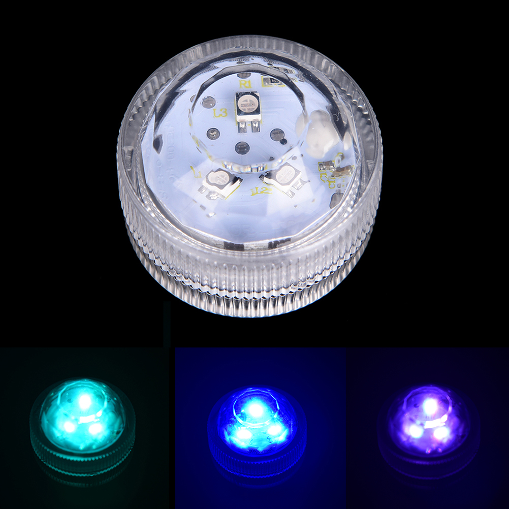 1Pcs 3 LED Submersible Underwater Light Battery Operated Night Lamp Tea Lights For Vase Bowls Party Wedding Holiday Decoration
