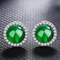 Brass 925 Sterling Silver Stud Earrings For Women Red Green Jade Agate Gem Stone Zircon Female Fashion Fine Jewelry