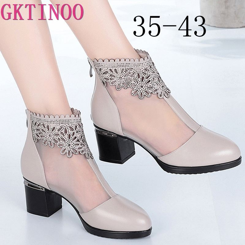 GKTINOO Fashion Sandals Mesh Genuine Leather Shoes Woman High Heel Sandals 2019 New Breathable Cool Boots Summer Women Sandals