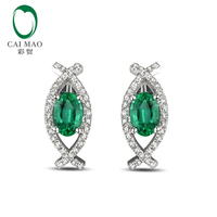0.7ct Green Emerald 14k Gold Pave Diamond Engagement Earrings Studs