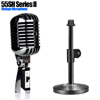 Metal Desktop Mic Stand Professional Classical Vocal Dynamic Vintage Microphone Holder For 55SH Series II PC Karaoke Home System