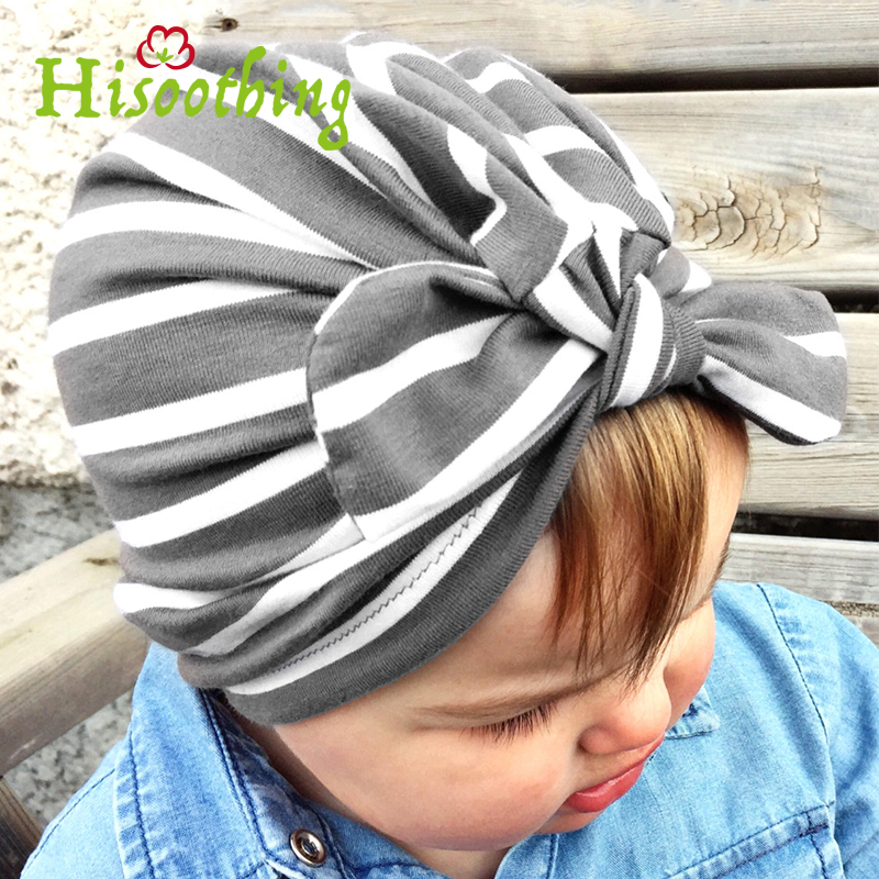 2018 stripes Print Baby Rabbit Ear Knot Hat Girls Indian Cap Baby Girls Beanie Kids Hat Cotton Childrens Hats Caps Trend boy