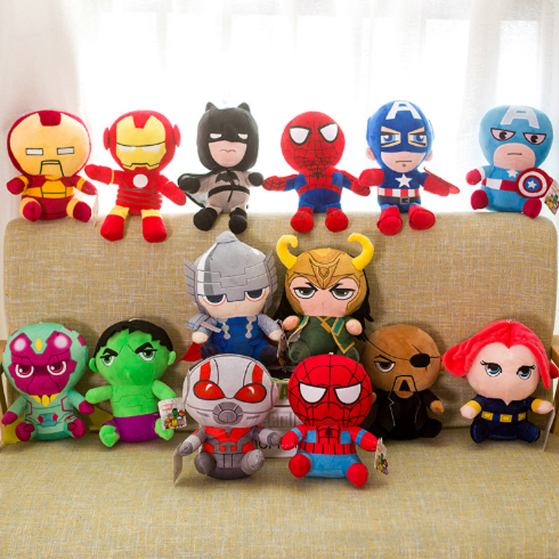 25cm Marvel Avengers 4 Superhero All Staff Plush Toy Dolls Captain America Ironman Iron Man Spiderman Loki Thor Plush Soft Toy