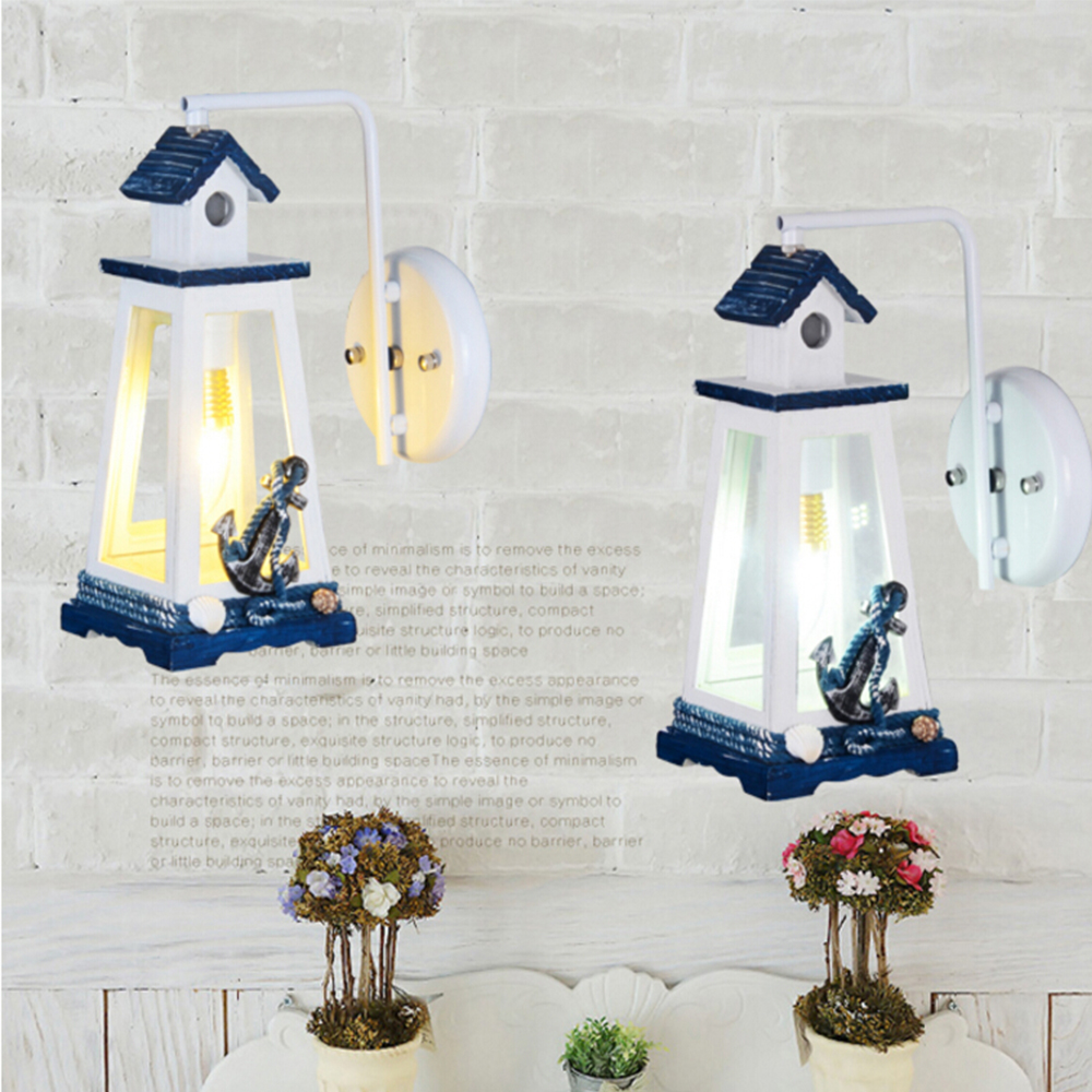 Cottage lighthouse lamp 3 colors - Mediterranean Lighthouse Modern Sconce Wall Lights E27 Led Wall Lamp Children Room Kids Wall Led Lamp