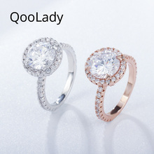 QooLady Wedding Brand Sparkly Rose Gold 2 Carat Round Shape CZ Stone Engagement Marriage Finger Rings Jewelry for Women F003
