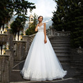 Elegant A Line Lace Wedding Dress 2017 Backless Appliques Tulle Trouwjurk Off the Shoulder Vestidos De Noiva
