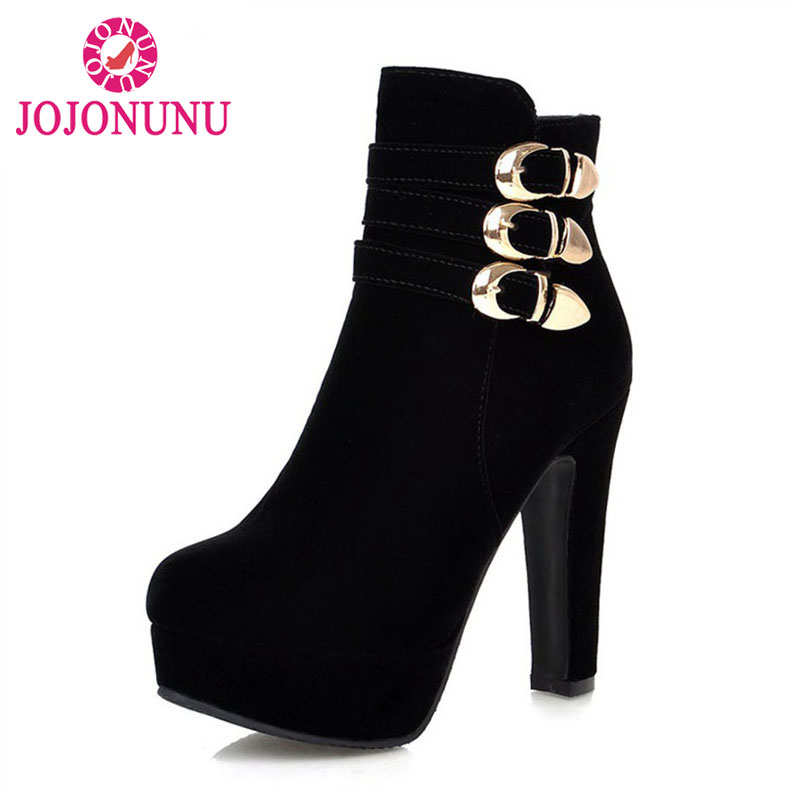 JOJONUNU Chic Wedding Boots High Heels Zipper Metal Buckle Warm Thick Velvet Platform Shoes Boots Women Winter Warm Size 33 43