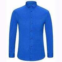 Alimens & Gentle Mens sợi tre dễ dàng chăm sóc phi sắt dài tay áo dress shirt cộng với kích thước 8XL 7XL 6XL màu trắng đen đỏ tím