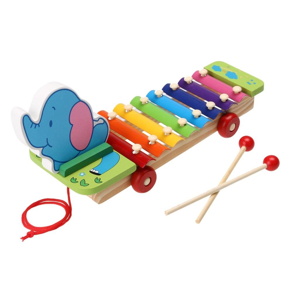 Kids Intelligence Development Toy 8 Notes Wooden Elephant Glockenspiel Musical Instrument Music Toy For Kids Children