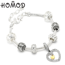 HOMOD Authentic Silver Plated Crystal Heart Charm Beads Brand Bracelet Women DIY Jewelry Fit Wedding Gift