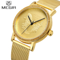 Top Brand Megir Men Watches Men Quartz Mesh belt Clock Male Waterproof Sports Watch Gold Casual Wrist Watch Relogio Masculino