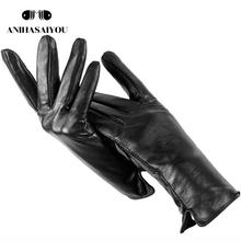 Zwykłym skórzanym rękawiczki damskie oryginalne damskie skórzane rękawiczki damskie rękawiczki z owczej skóry wysokiej jakości ciepłe rękawiczki damskie zimowe-707 tanie tanio anihasaiyou Dla dorosłych WOMEN Genuine Leather Stałe Nadgarstek Moda 25cm
