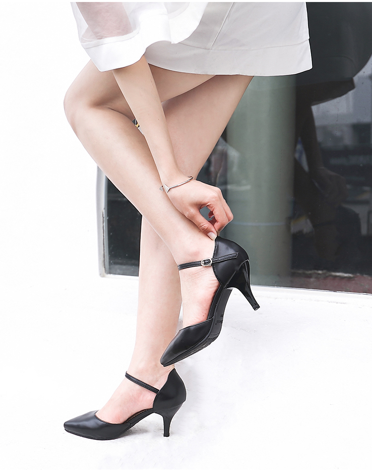 YALNN Spring Summer Basic Women Pumps Shoes Shallow Buckle Strap Thin Heels Pointed Toe for Leisure Office Career Shoes Women 11