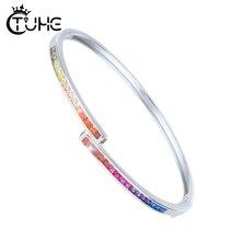 Estilo simples amarelo rosa azul roxo vermelho colorido arco íris pulseira pulseira para mulher 3mm largura s925 prata esterlina pulseira presente