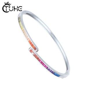 Image 1 - Estilo simples amarelo rosa azul roxo vermelho colorido arco íris pulseira pulseira para mulher 3mm largura s925 prata esterlina pulseira presente
