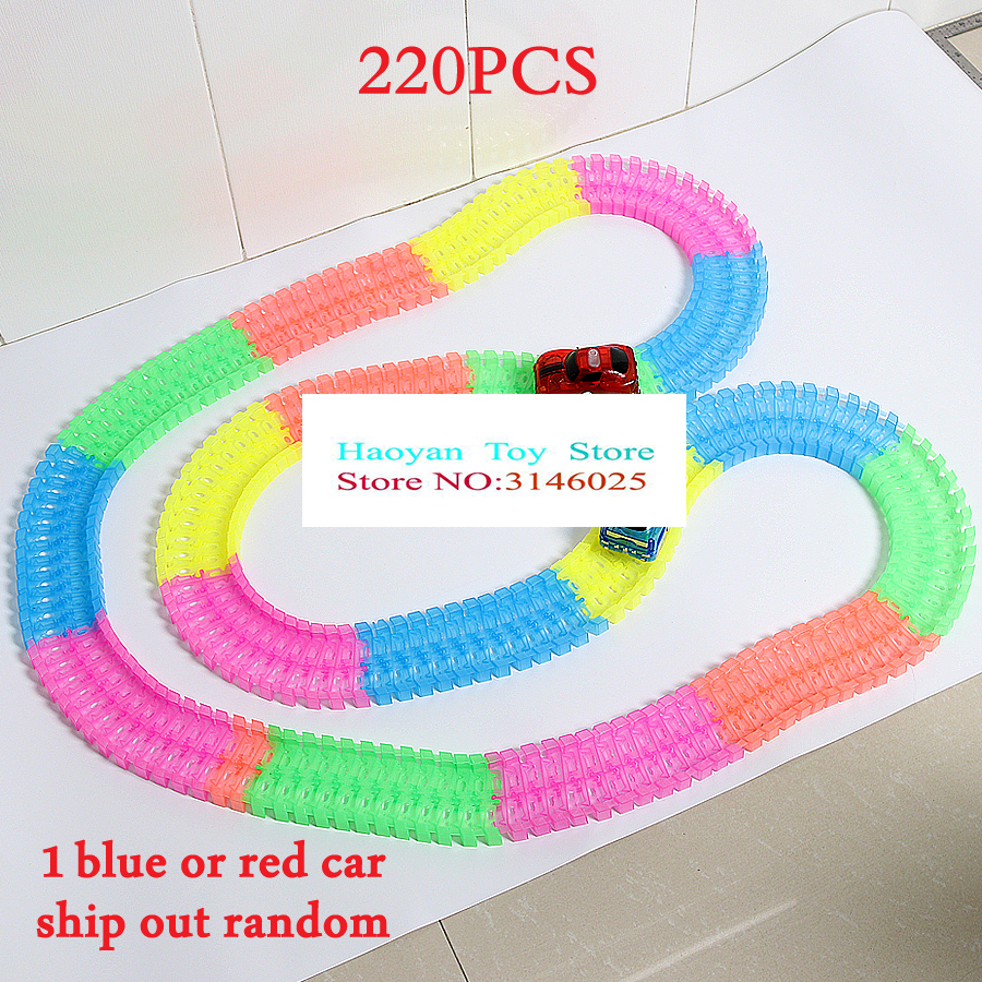 360 Loop Glow In The Dark DIY Assembly Luminous Toy Twister Tracks Bend Flex Slot Race Track Toy Car With 5 LED Flashing Lights