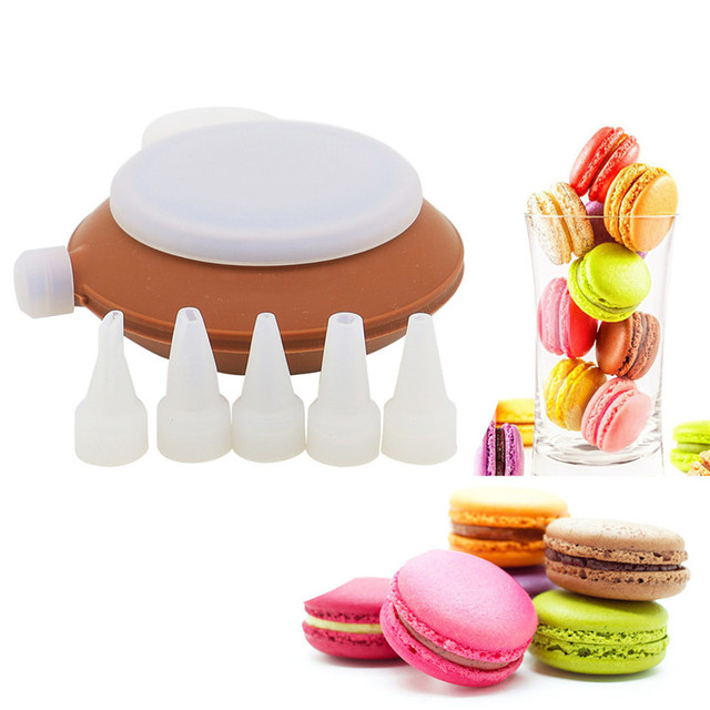 Bakery Silicone Cake Muffin Macaroon ,Macaron Piping icing Baking Tool Pot 4 Nozzles Set for Kitchen Cake Bakeware Tools 2