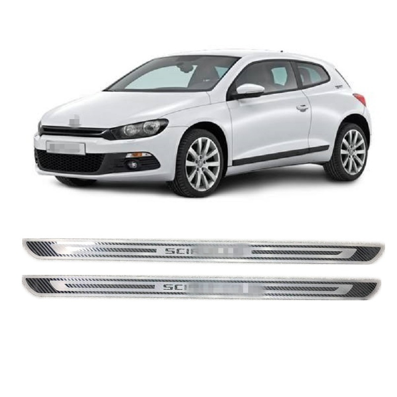 Aspect Fiber De carbone pour Volkswagen Scirocco R MK3 2009-2018 Acier Inoxydable Porte de Plat D'usure Couverture Autocollant De Voiture accessoires