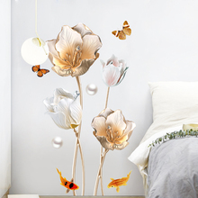 Creative tulip butterfly sticker PVC self-adhesive warm room decoration waterproof stickers Living Background 3D wallpaper