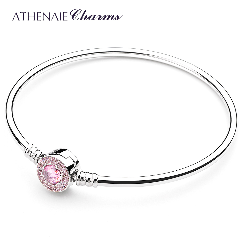 ATHENAIE 925 Sterling Silver Pave Clear Pink CZ and Enamel Clasp Basic Charm Bracelet & Bangle