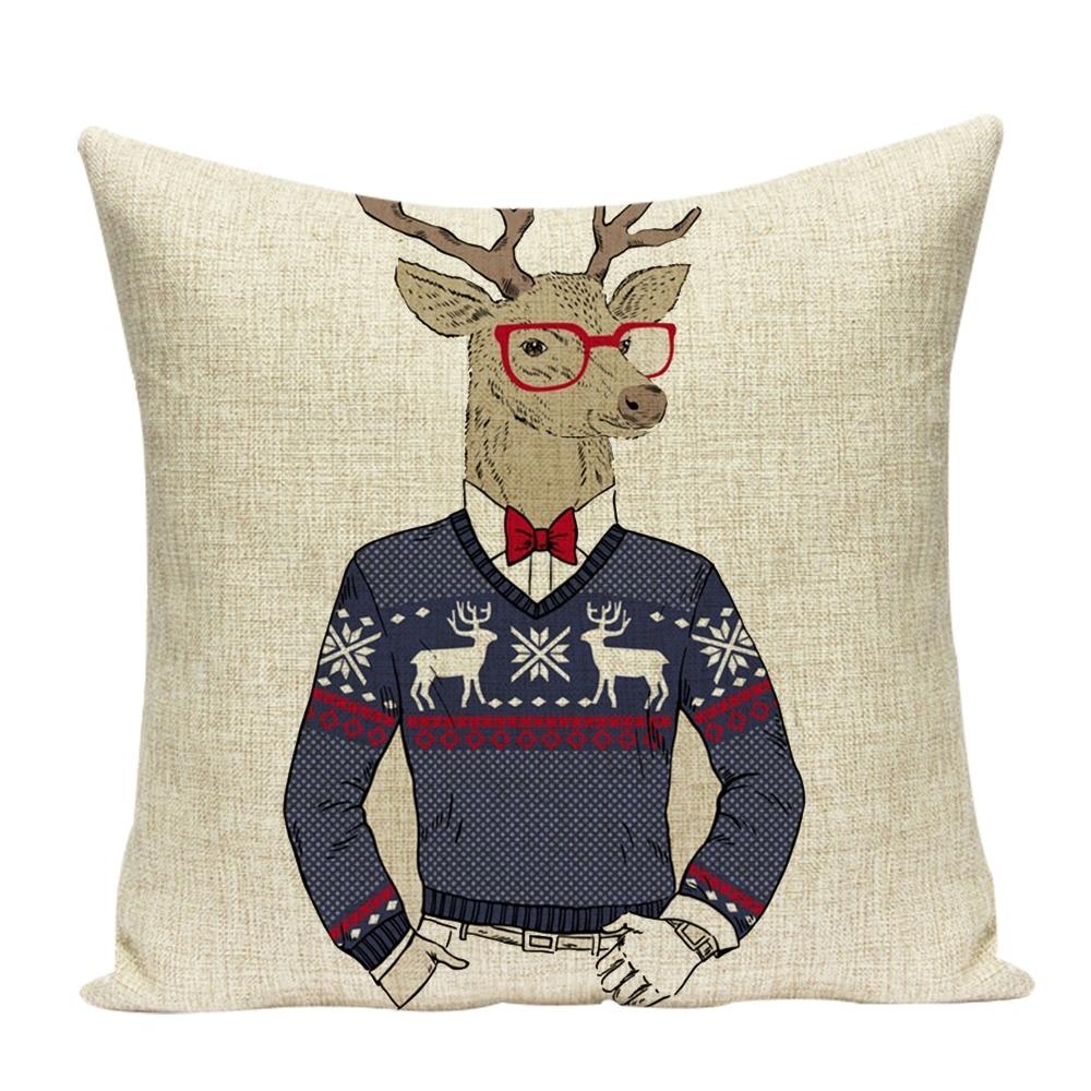 New Hot Cartoon Deer Tiger Rabbit Pillow Suite Decorative Sofa Car Seat Cushion Cover 18*18 Inch Pillowcase
