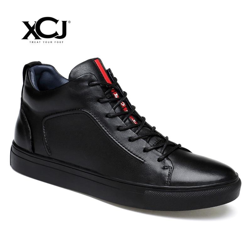 Genuine Leather Men Shoes Casual Shoes Brand Winter Boots Men Winter Shoes Flats Sneaker Plush Spring Autumn Big Size XCJ mulinsen latest lifestyle 2017 autumn winter men