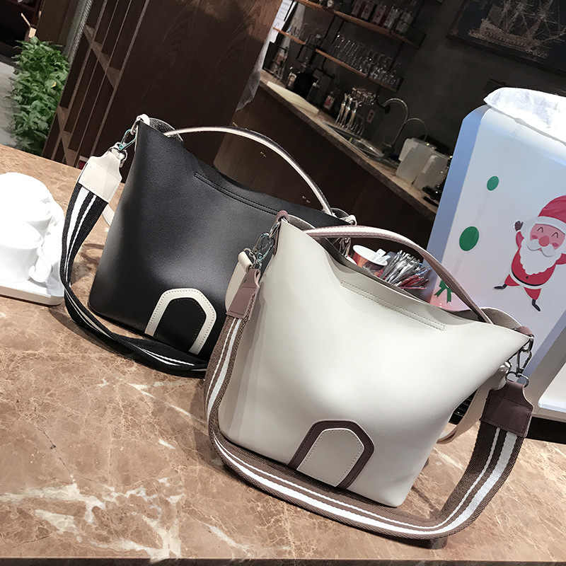 Large Capacity Female Handbags Women PU Bucket Shoulder Tote Bags Coloured Wide Strap Ribbon Leather Messenger Bag