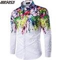 Jopapcy Otoño Tinta-pintura Camisas de Los Hombres de Moda Masculina Da Vuelta-abajo Blusa de Algodón Hip Hop Discoteca Camisa Masculina MXB0334
