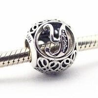 Encaixa pulseiras de Pandora Letra Y com limpar zircon prata beads 925 sterling silver jewelry nova primavera charme atacado bom presente